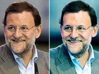 Imagen de Rajoy, antes (izqda.) y después (dcha.) del retoque.