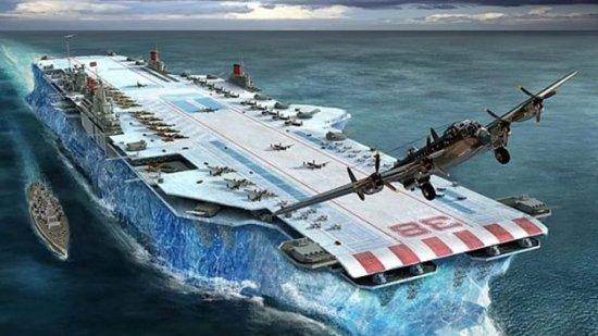 Portaaviones cuyo casco es totalmente de hielo