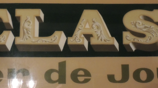El cartel del taller.
