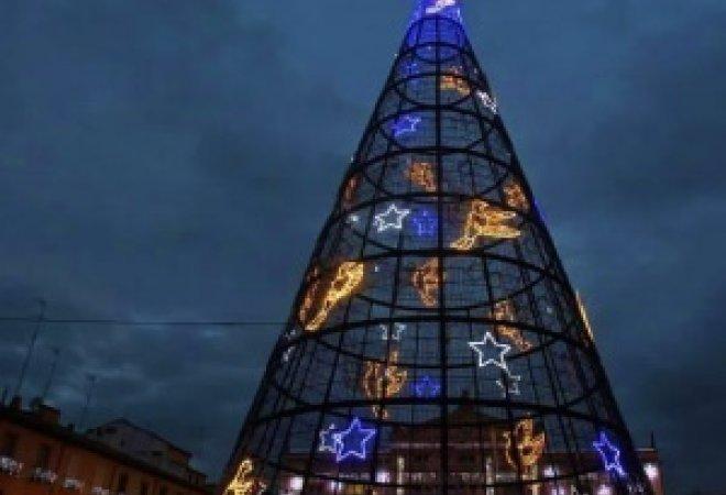 plaza mayor de Palencia iluminada