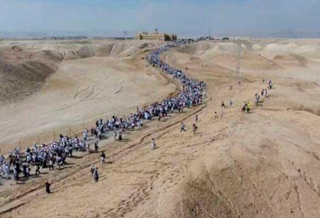 la marcha de Israel llegando a Jerusalén.