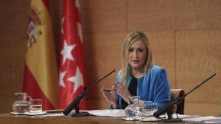 Cristina Cifuentes durante una intervención en rueda de prensa. COMUNIDAD DE MADRID