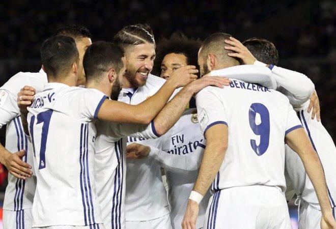 Foto del madrid después de un gol